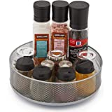 EZOWare Spinning Organizer, Multifunctional 10-inch Round Metal Mesh Deep Lazy Susan Turntable Storage Container Rotating Tray for Cabinet, Pantry Kitchen Countertop bathroom - Silver