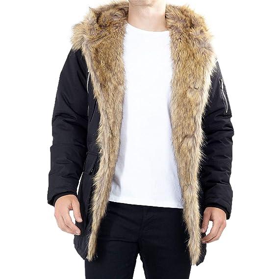 53ce7746fe9d3 Brave Soul Mens Fishtail Long Faux Fur Trim Lined Hood Parka Jacket Winter  Coat  Amazon.co.uk  Clothing