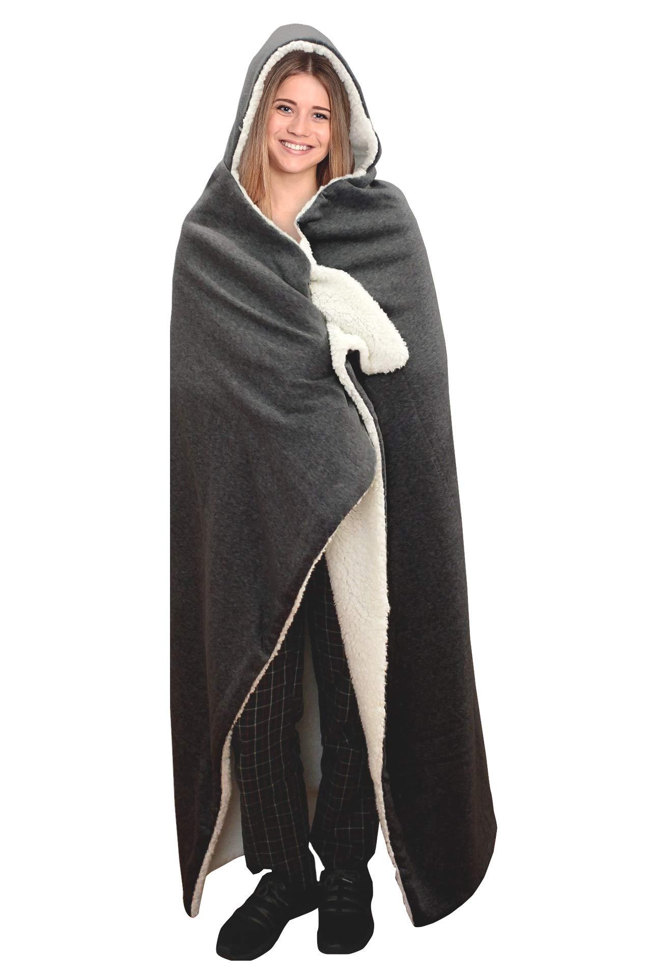 Posh Home Hooded Jersey Knit Reversible Sherpa Throw Blanket, 50'' x 60'' Dark Grey by Posh Home