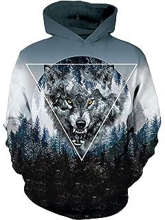 Uideazone Men Women 3D Printed Plus Velvet Hooded Sweatshirt Casual Pullover  Hoodie Big Pockets 020b7945fecb
