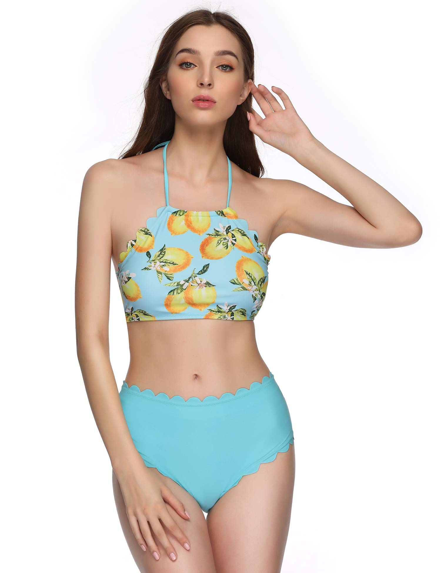 Verano Playa Women\'s Swimsuits High Neck Halter Bathing Suits Two Piece Floral Printed Bikini Set with Wave Edge