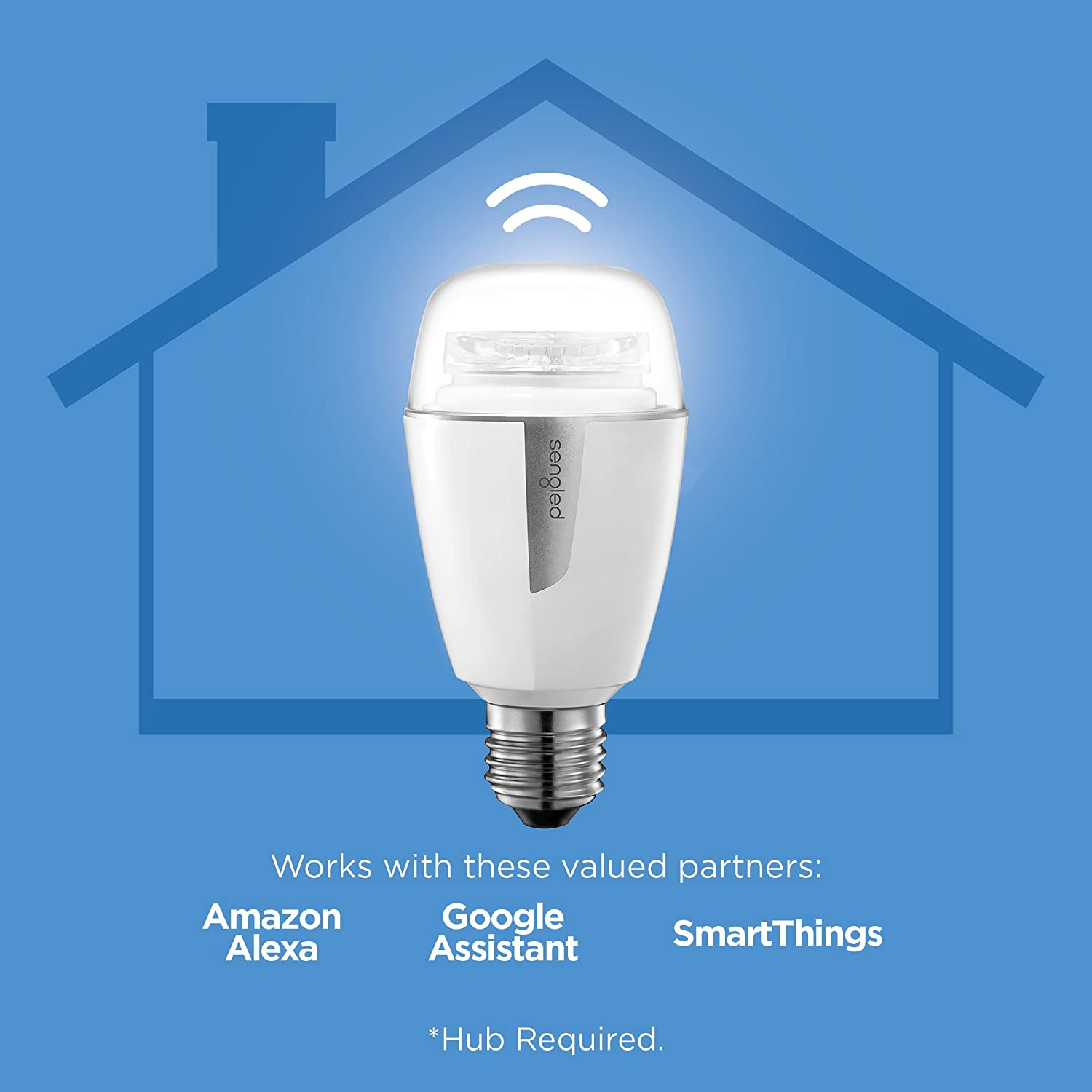 A19 Dimmable LED Light Tunable White 2700-6500K 60W Equivalent Works Alexa//Echo Plus//SmartThings//Google Assistant Hub Required Sengled Element Plus Smart LED Light Bulb 3 Pack