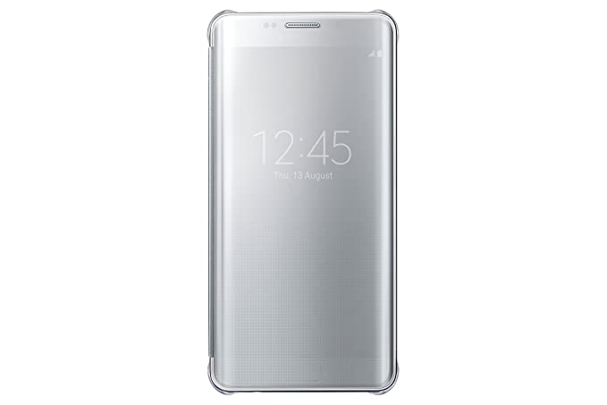 buy online ba4a0 46555 Samsung S-View Clear Flip Cover Case for Galaxy S6 Edge Plus in Silver,  Retail Packaging