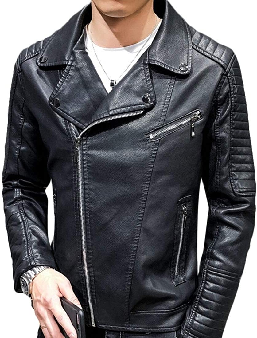 Keaac Mens Causal Slim Pu Leather Biker Zipper Jacket Coats Outwear