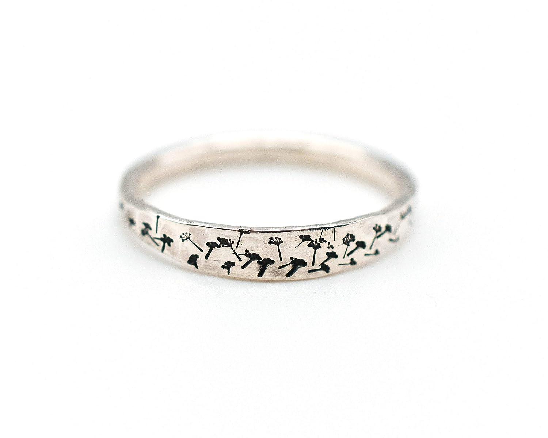 Friendship Gift Wish Dandelion Adjustable Silver Ring Flower Ring