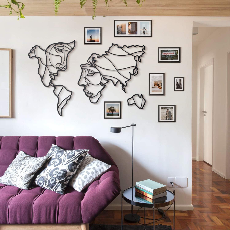 Original y /único Regalo Idea Hoagard Caras del Mundo Mapa Arte de Pared La Mejor Idea de decoraci/ón del hogar 105 cm x 68 cm Decoraci/ón de Pared de Metal