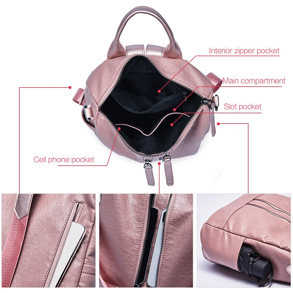 Women Backpack Purse Leather Fashion Travel Large Casual Covertible Ladies Shoulder Bag