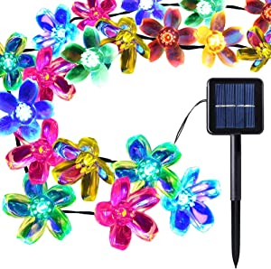 [50 Led] Solar Outdoor Blossom Lights Outside Flower String Lights Decorations, 8 Mode (Steady, Flash), Waterproof, Fairy Lamp for Patio, Garden, Yard, Porch, Fence, Christmas Tree (Multi Color)