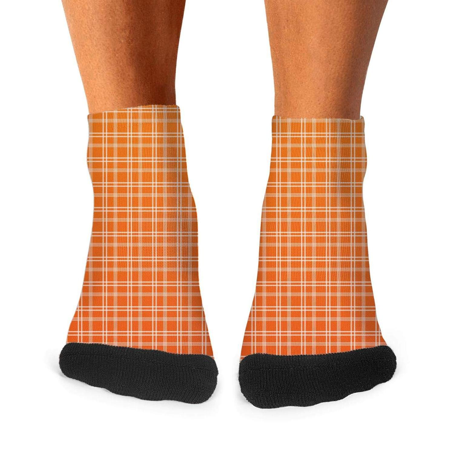 Mens athletic low cut Ankle sock Plaid printing Gradient orange Short Sports Sock