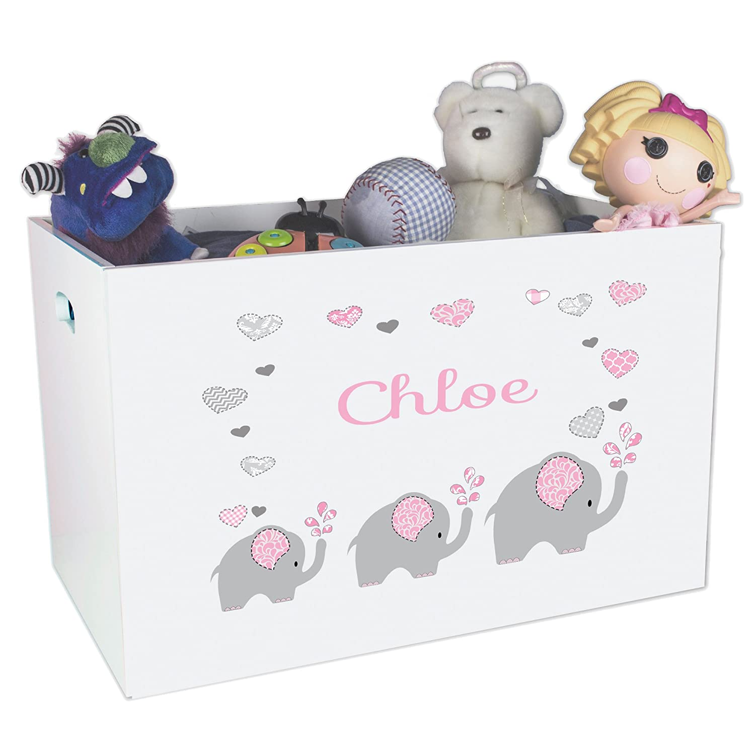 Personalized Elephant Childrens Nursery White Open Toy Box MyBambino ybin-303c