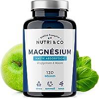 Magnesium Végétal plus Vit B6 B5 B8 | Malate et Bisglycinate de Magnésium | 120 Gélules de 506mg 100% Bio-disponibles et Non Laxatives | Fabriqué en France par Nutri&Co ® (1)