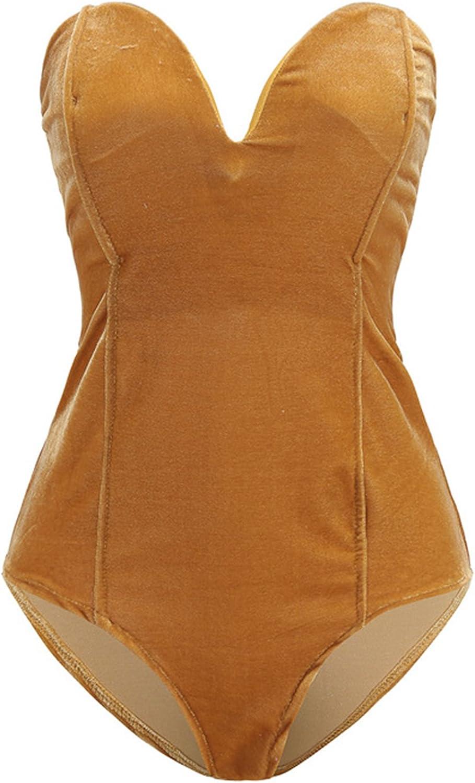 Clothink Women Burgundy Bandeau Back Lace up Velvet Bodysuit