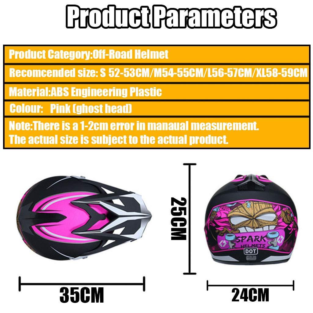 DIMPLEYA Casco De Moto Moto Cara Completa Bicicleta Monta/ña Prevent Collision Adultos Hombres Mujeres Cabeza De Fantasma Rosa Guantes M/áscara De Gafas Gratis