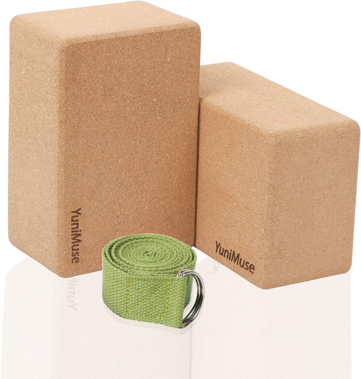Cork Yoga Blocks 2 Pack with Strap YuniMuse Yoga Blocks Yoga Set to Improve Strength Yoga Bolster Balance and Flexibility 9x6x4//3 Natural Eco-friendly High Density Cork Yoga Block Yoga Strap