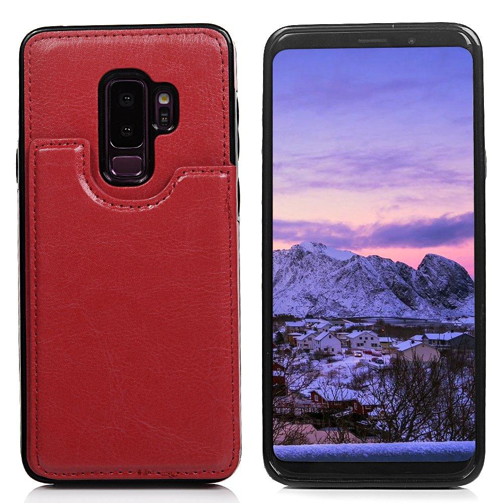 Galaxy S9Plus Flip Case, Crazy Horse PU cuoio di magnetica del supporto di carta di credito e ID card slot di tasca borsa Protector bumper case per Samsung Galaxy S9Plus Tophung
