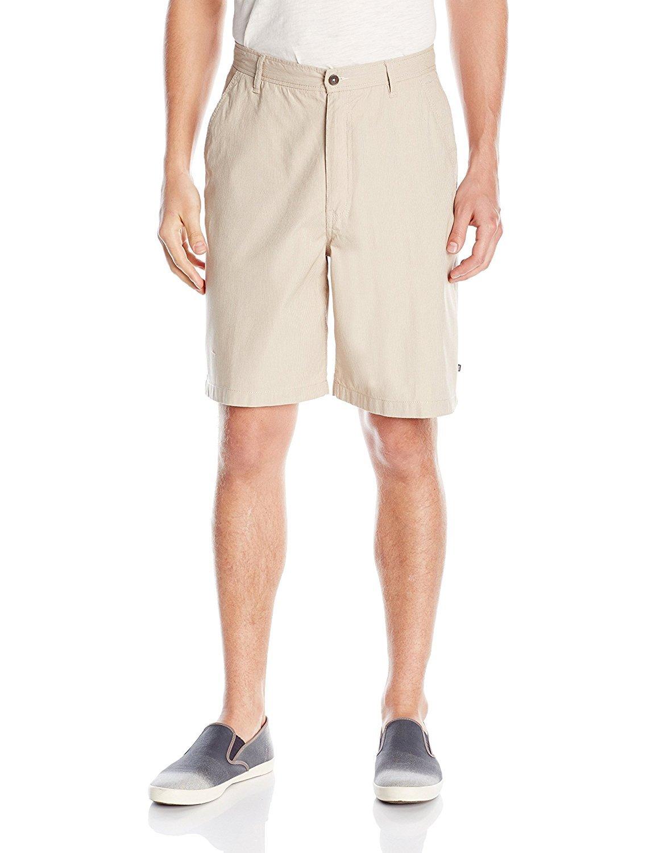 Geoffrey Beene Men's Linen Cotton Yarn Dye Stripe Short (30, Stone)