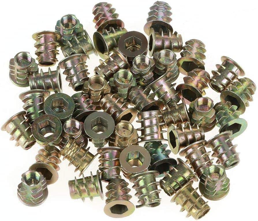 Zopsc 50Pcs Hex Drive Head Nut M510mm Zinc Alloy Threaded Insert Nuts for Wood Furniture