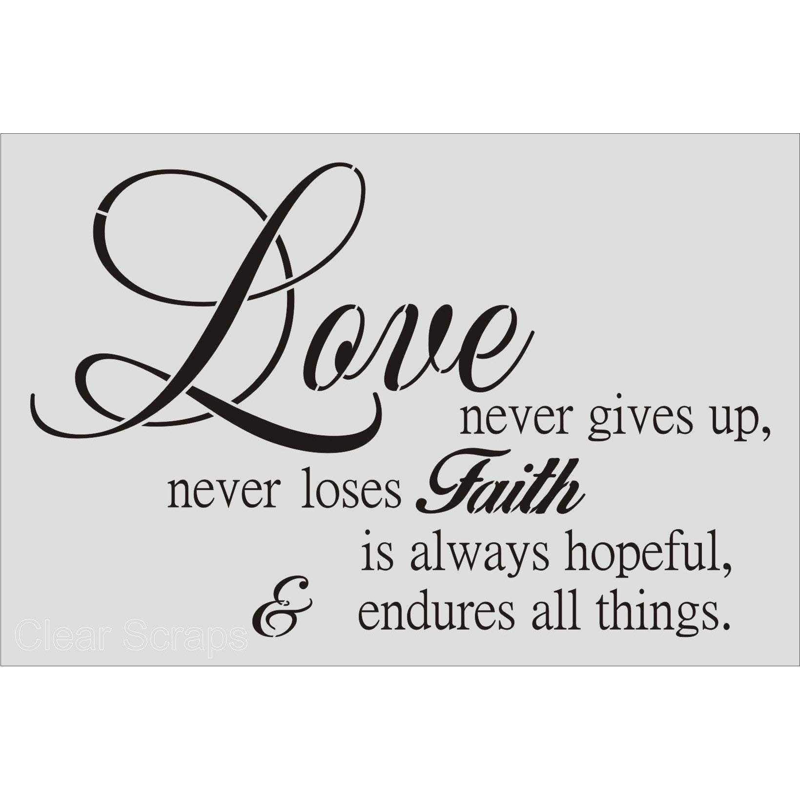 CLEARSNAP Clear Scraps SSMWLOVEENDURES24X36 Wall Stencils, 24'' x 36'', Love Endures, Clear by CLEARSNAP