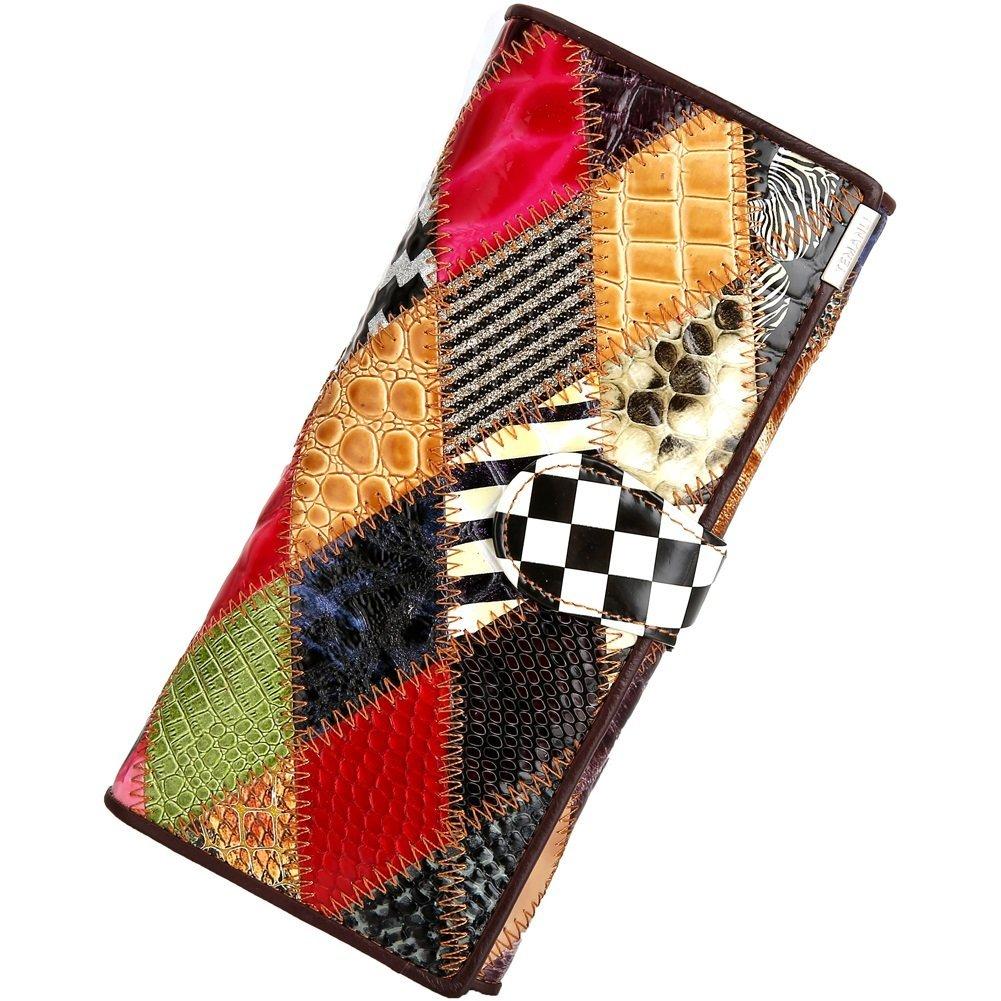 Color : Multi-Colored-A, Size : S Femmes Portefeuille Longue Section en Cuir Dames Portefeuille Femmes Sacs /À Main Femme Pochette Sac Mod/èles F/éminins Pochette