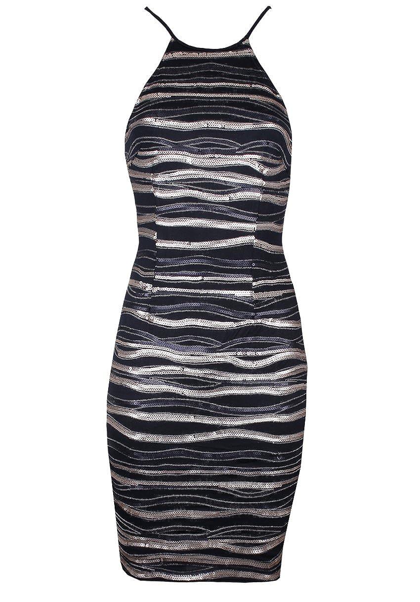 AX Paris Womens Striped Sequin Dress