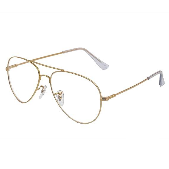 1e210b4024947 Simvey Classic Retro Oversized Aviator Glasses Clear Lens Gold Metal Frame  UV400
