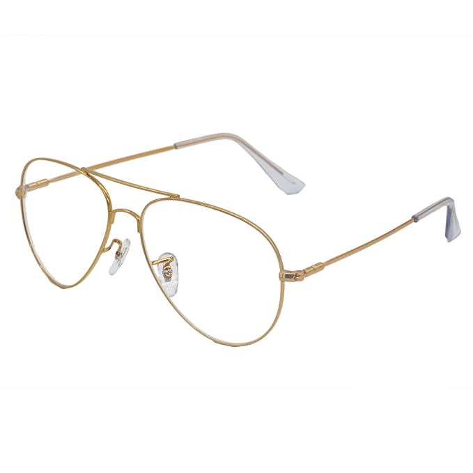 11fe984f59b Simvey Classic Retro Oversized Aviator Glasses Clear Lens Gold Metal Frame  UV400