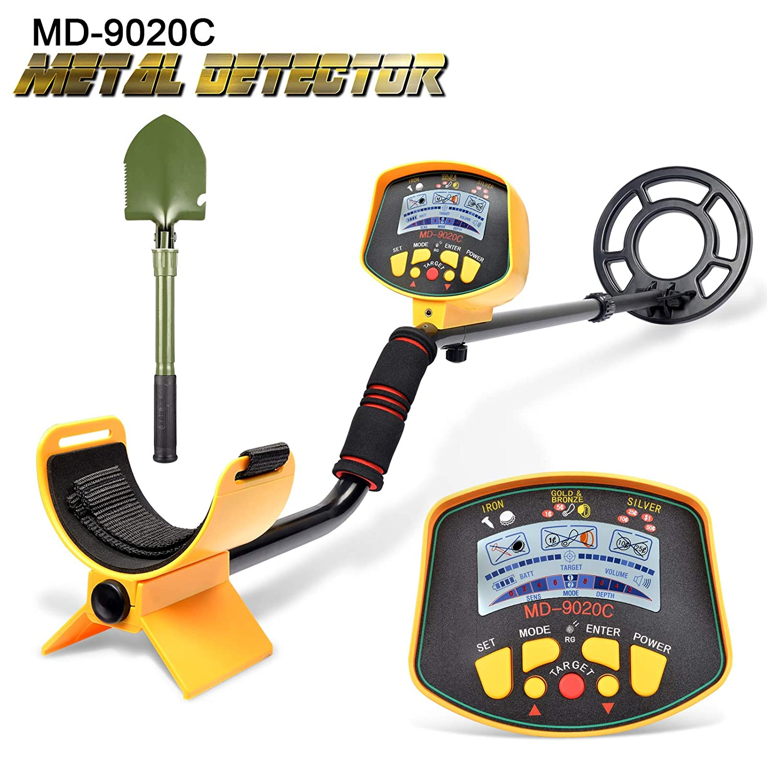 VVinRC Professional Metal Detector with Pinpointer Function, High Sensitivity Metal Detector for Adults Kids Waterproof Search Coil Underground Treasure Hunter LCD Display