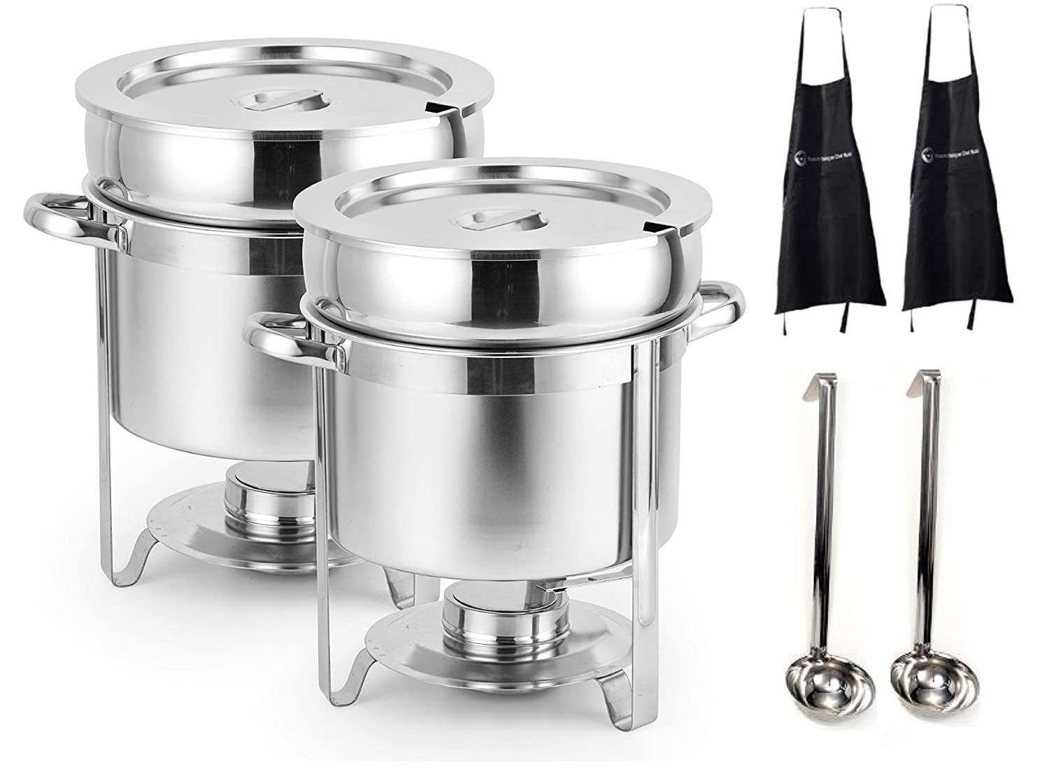 [Set of 2] 7 Qt Marmite Soup Chafer with 6 Oz ladelStainless Steel Buffet Set Warmer for Any Event or Party - Commercial Grade