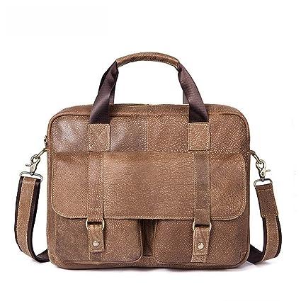 maletín para ordenador portátil Bolso de cuero de la cartera del mensajero de la bolsa de