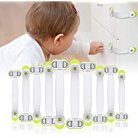 CHOOBY Child Safety Cabinet Locks, 10 Pack Baby Proofing Refrigerator Locks with Strong Adhesive, No Tools or Drilling…