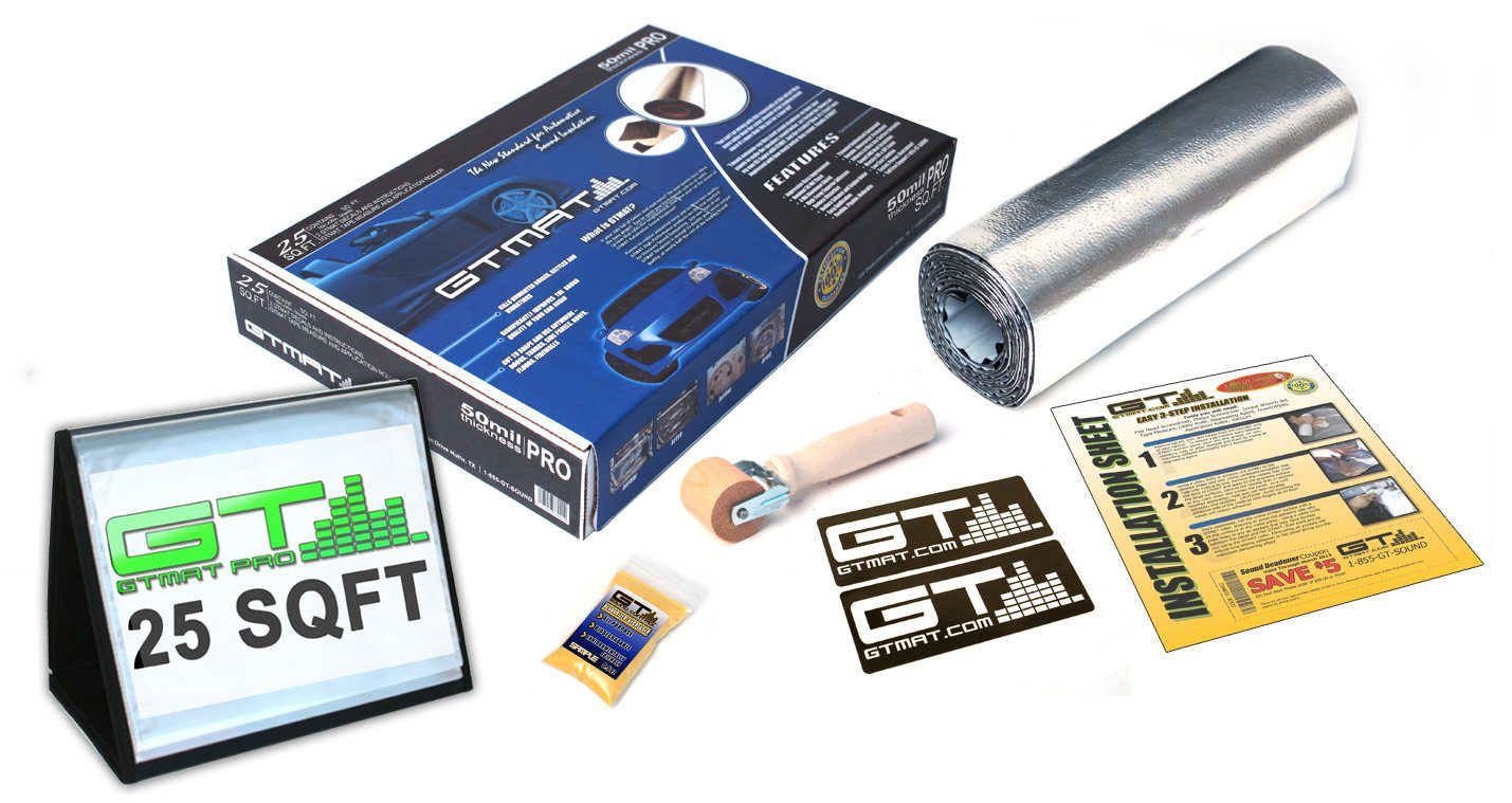 GTMAT 25 sqft Automotive Sound Insulation 50mil PRO – Rattle Eliminator Installation Kit Includes: 25sqft Roll (16in x 19ft), Instruction Sheet, Application Roller, Biodegradable Degreaser, GT MAT Decals GT Sound Control