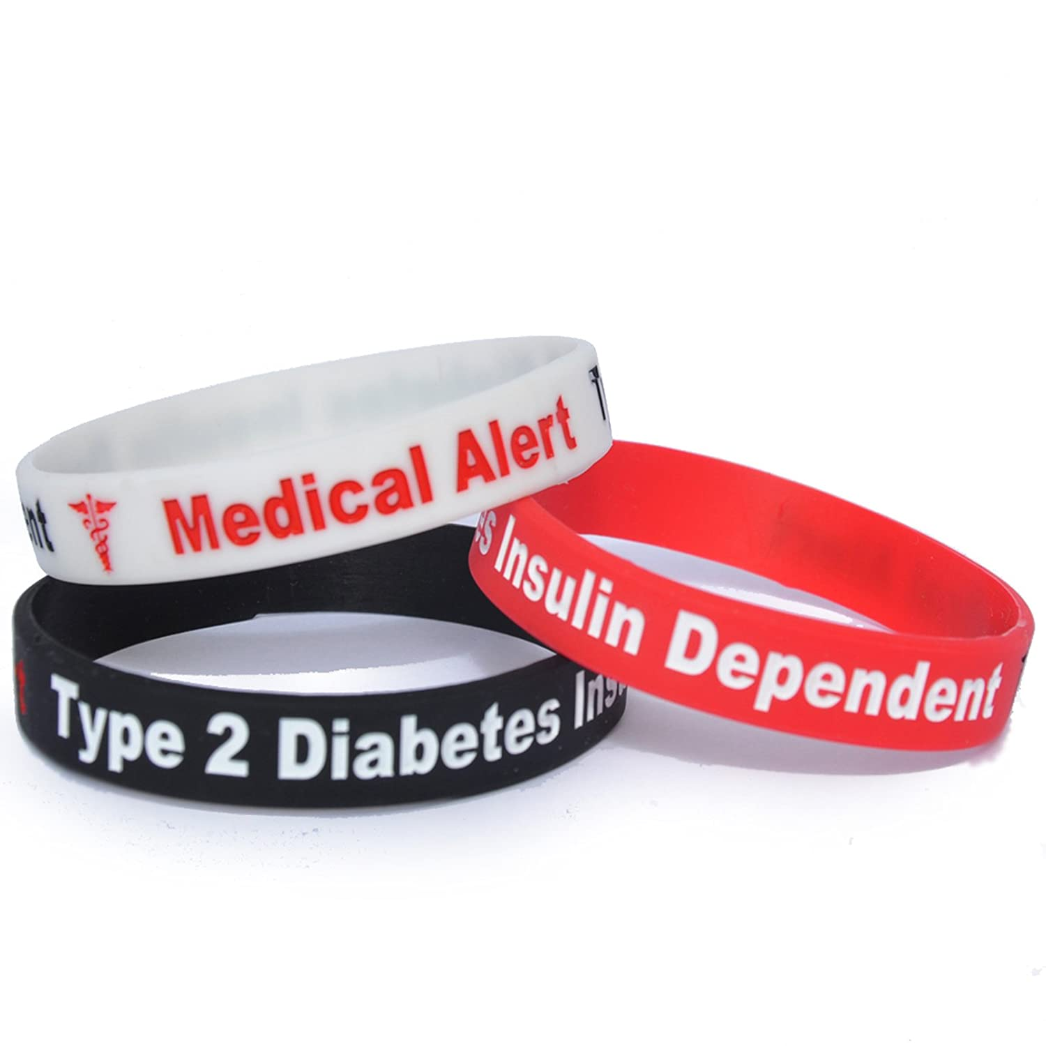 silicone alert funky img product medical diabetes type size bracelet pumpers adult wristband