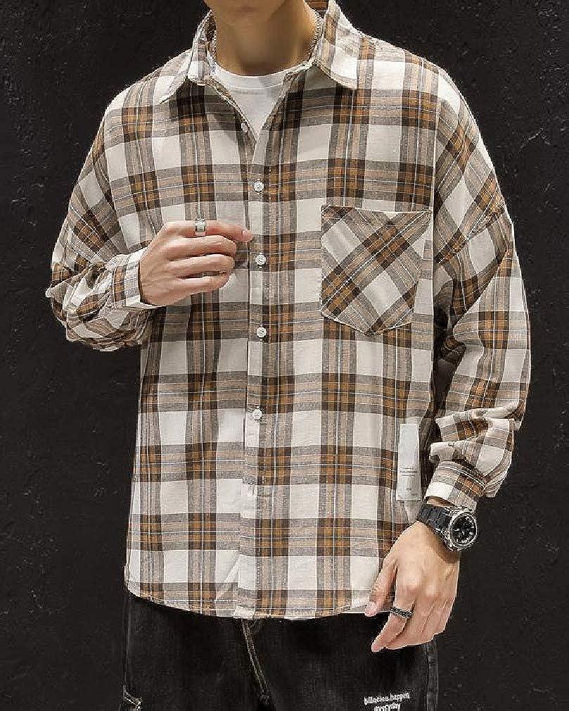 Doufine Mens Square Collor Long Sleeve Pocket Plus Size Plaid Pattern Work Shirt