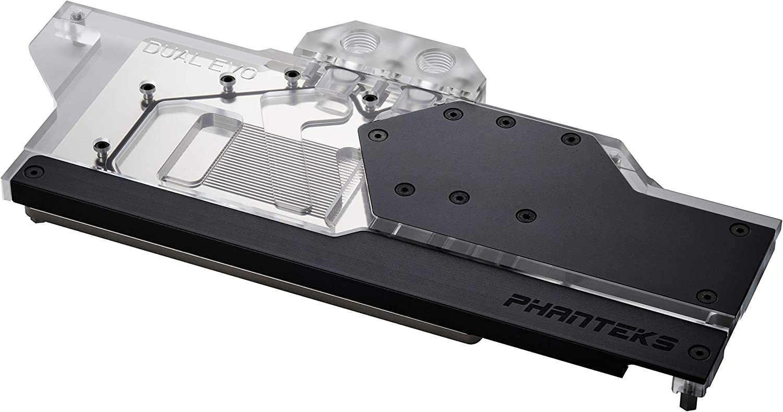 Phanteks Glacier Dual Evo (PH-GB2080ASDEVO_BK01) for ASUS RTX 2080/2070/2060 Super Dual EVO Series, Nickel-Plated, Acrylic, Aluminum Cover Plate, Digital RGB, Full Water Block - Black