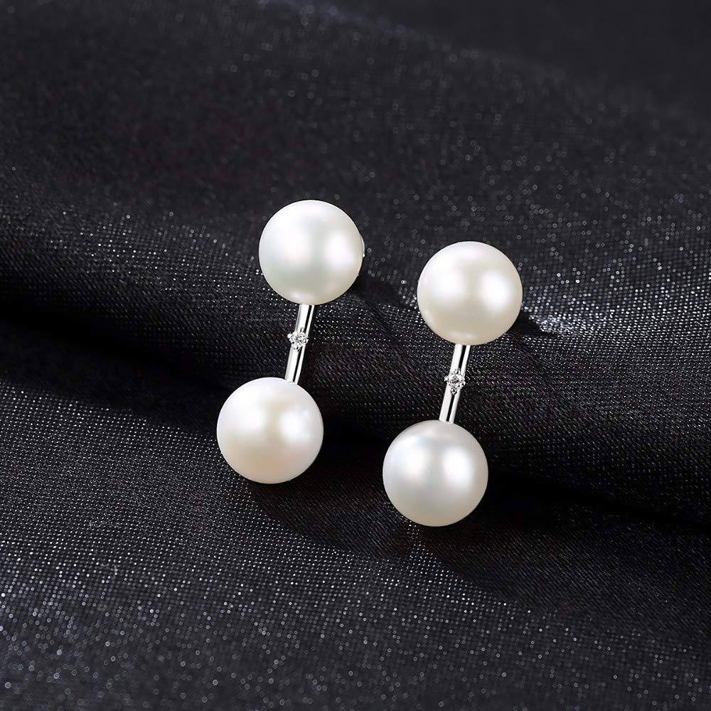 THTHT Pure 925 Sterling Silver Natural Double White//Pink Bead Pearls Stud Earrings for Women Best Jewelry Gift,Pink