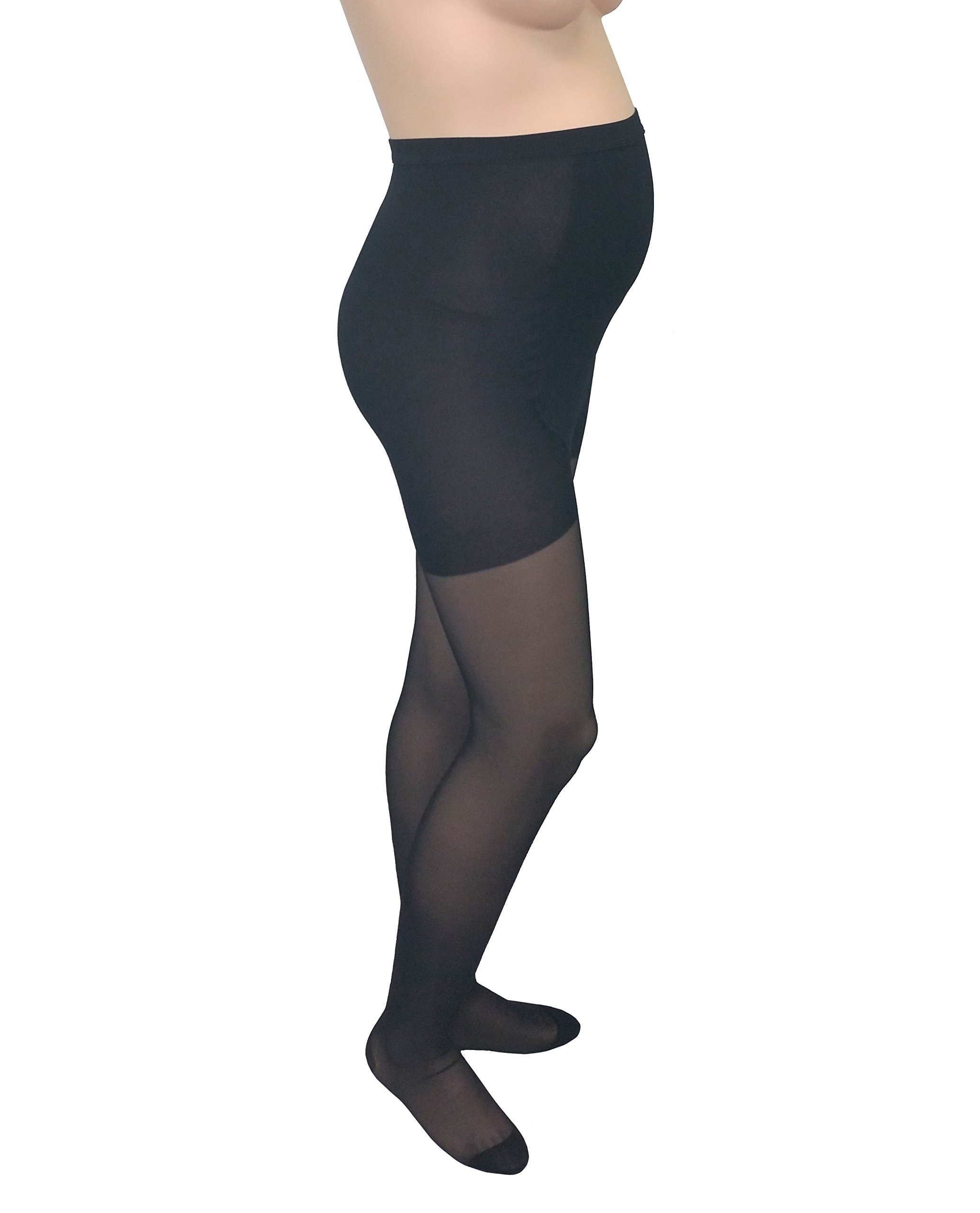 GABRIALLA Maternity Graduated Compression Pantyhose 2 Pack (20-22 mmHg) H-260: Medium Black