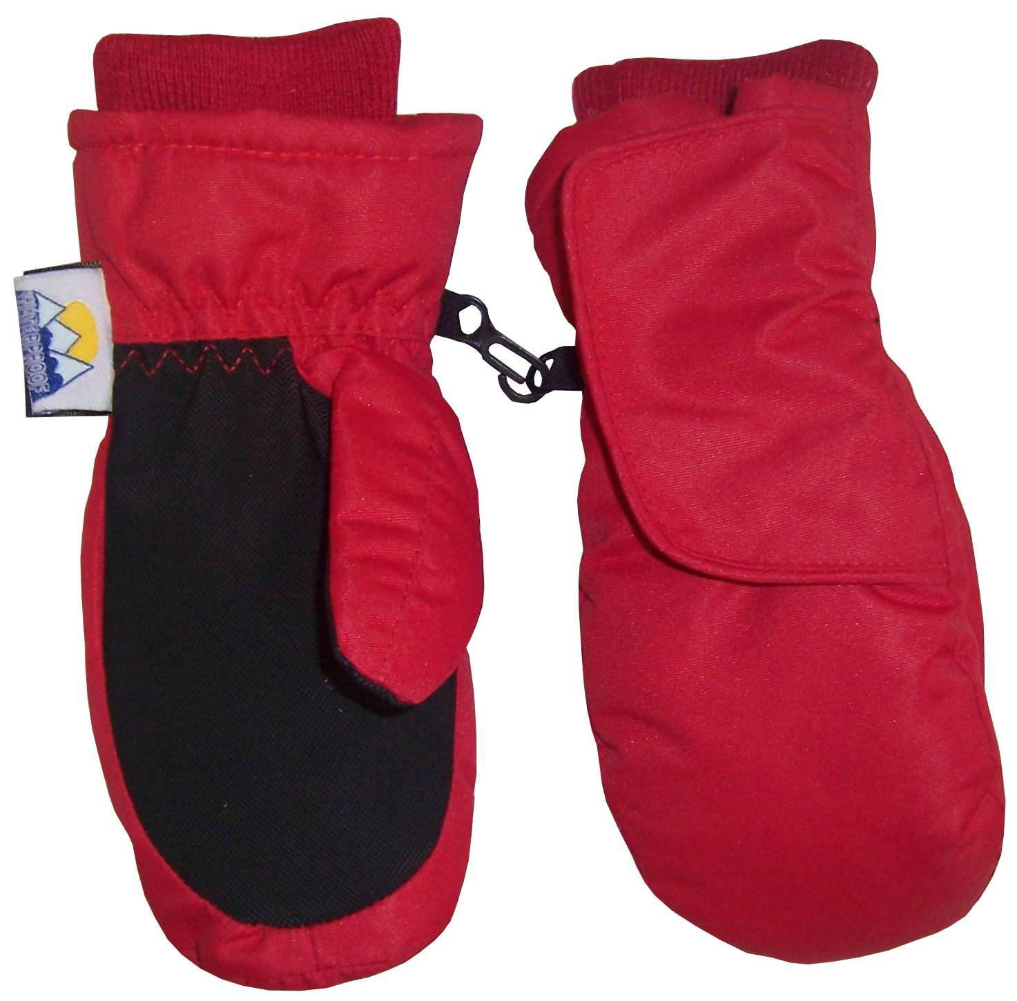 N'Ice Caps Kids Easy-On Wrap Waterproof Thinsulate Winter Snow Mitten (4-5 Years, Red) by N'Ice Caps