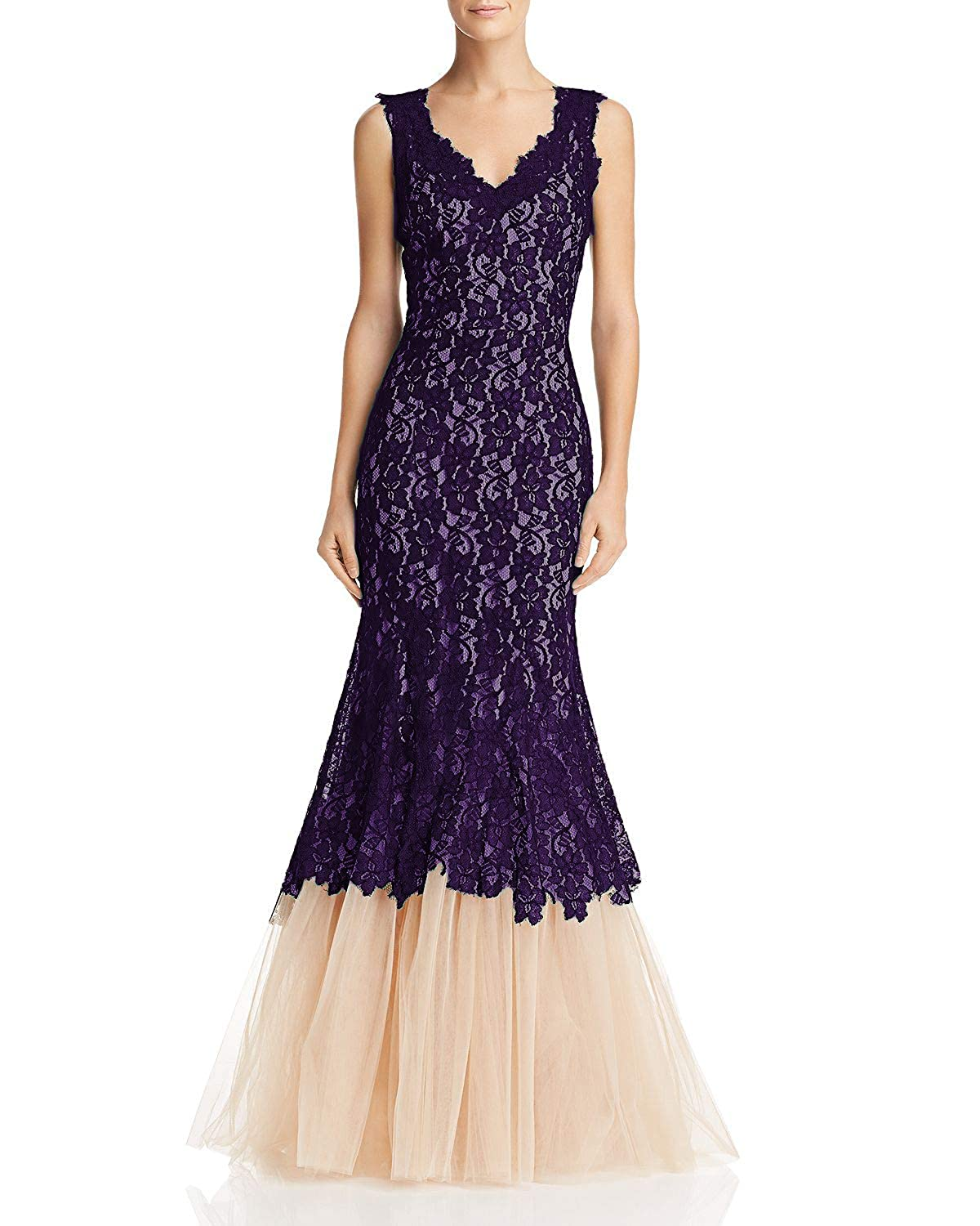 bluee Wanshaqin Women's Mesh Lace Appliqued Double V Neck Tulle Evening Gown for Cocktail Wedding Party
