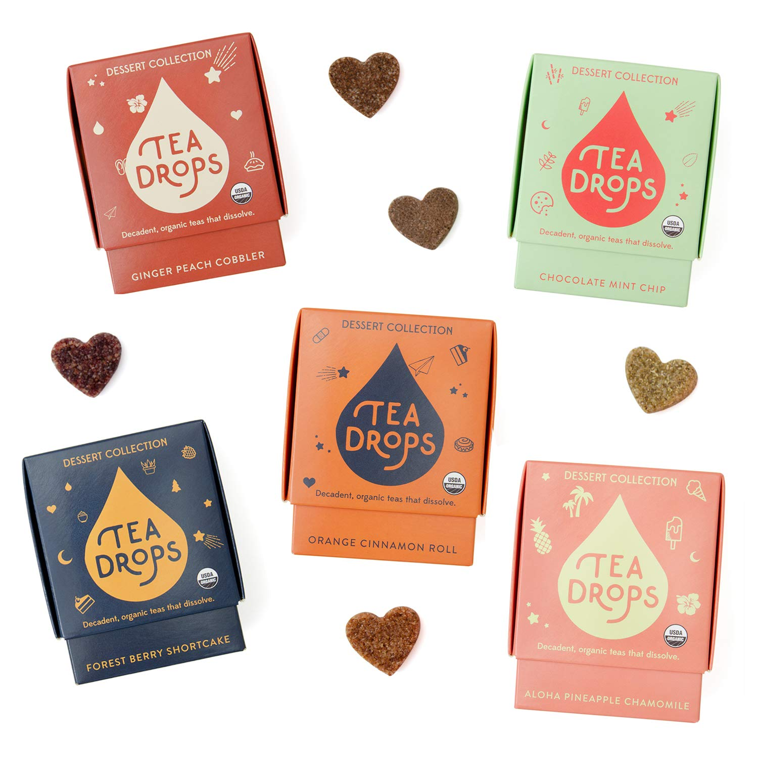 Organic Loose Leaf Tea | Sweetened Dessert Collection | Orange Cinnamon Roll, Ginger Peach Cobbler, Chocolate Mint Chip, Berry Shortcake, & Pineapple Chamomile | 10 Drops Each | Delicious Hot & Iced by Tea Drops