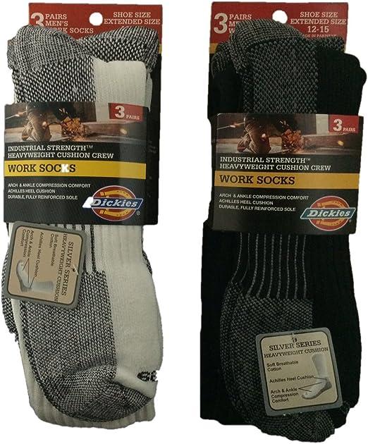 Mens Big-Tall Size 12-15 3 Pack Heavyweight Cushion Crew Socks White /& Black Bundle