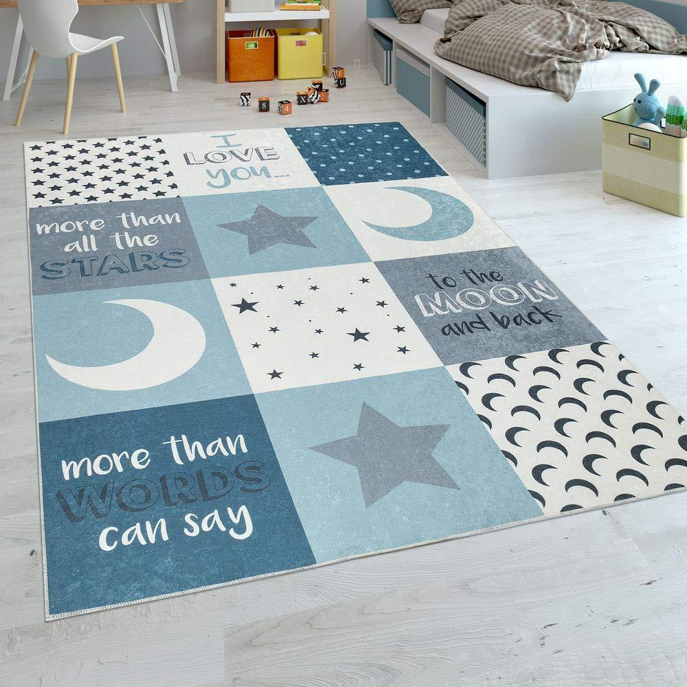 Paco Home Kinderteppich Kinderzimmer Jungen Waschbar Herzen Sterne Mond Spruch Blau Grau, Grösse:180x280 cm