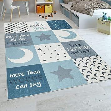 Paco Home Tapis Chambre Enfant Garçons Lavable Cœurs Étoiles Lune  Inscription Bleu Gris, Dimension:140x200 cm