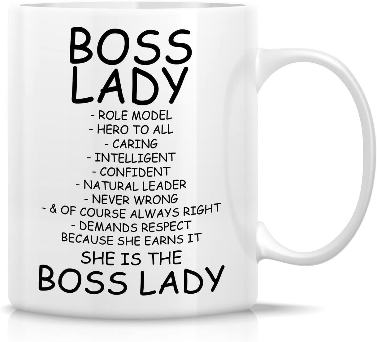 Retreez Funny Mug - Boss Lady Role Model Caring Description 11 Oz Ceramic Coffee Mugs - Funny, Sarcasm, Motivational, Inspirational birthday gifts for friends, coworkers, employer, siblings, dad, mom
