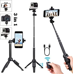 Portable 40 Inch Universal Selfie Stick, Selfie Stick Tripod with Wireless Remote, Extendable Mini Aluminum Alloy Handheld Monopod Phone Tripod Compatible with iPhone Samsung DSLR GoPro