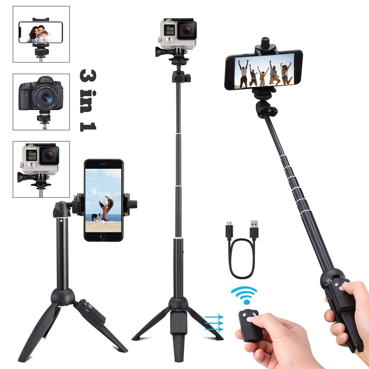 Portable 40 Inch Universal Selfie Stick, Selfie Stick Tripod with Wireless Remote, Extendable Mini Aluminum Alloy Handheld Monopod Phone Tripod Compatible with iPhone Samsung DSLR GoPro by vvtan
