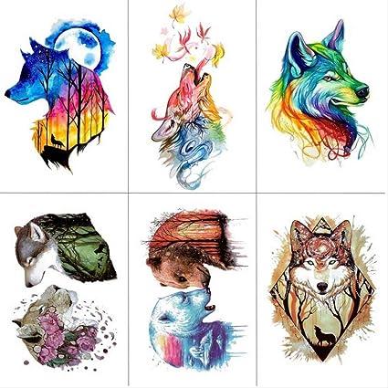yyyDL Acuarela lobo tigre tatuajes temporales impermeables mujeres falsos niños niños mano tatuajes hombres cuerpo arte 9.8X6 cm 6 piezas: Amazon.es: Belleza