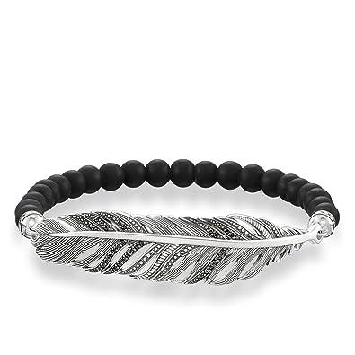 Thomas Sabo Femme Bracelet Plume Bracelet Argent Sterling 925, Noirci  LBA0020,705,11