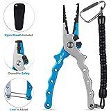 Aluminum Fishing Pliers, Wolfyok Stainless Steel Hook Removers Pliers, Saltwater Split Ring Tool & Braid Line Cutters…