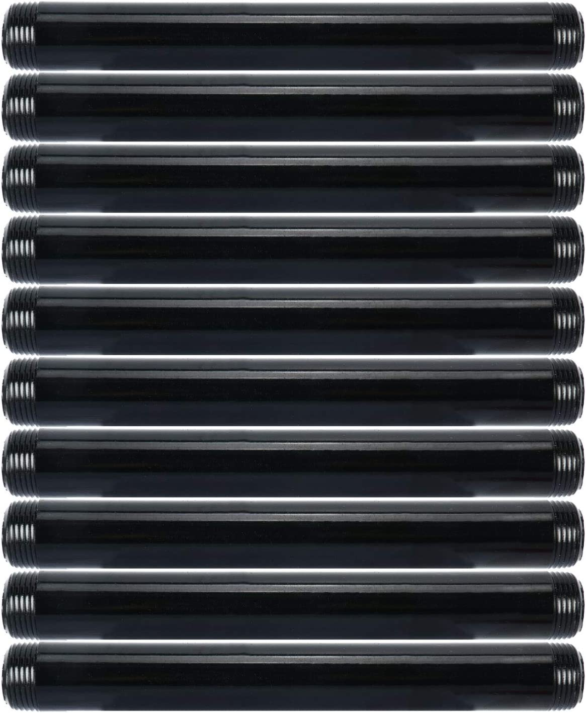 """3/4"""" x 8"""" Pipe Nipples Black Finish Malleable Cast Iron - DIY Pipe Furniture Fittings - 10 Pack"""