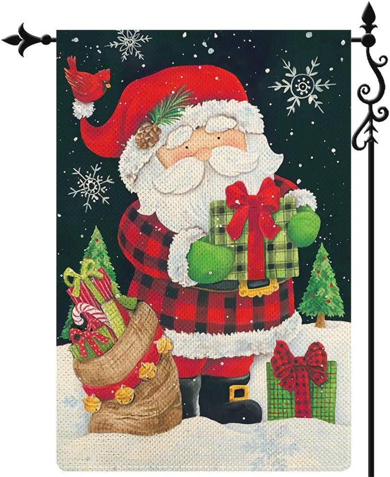 Coskaka Merry Christmas Garden Flag Snowflake Christmas Tree Xmas Cute Santa Claus Flag Gift Bag Vertical Double Sided Rustic Farmland Burlap Yard Lawn Outdoor Decor 12.5x18 Inch